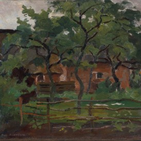 Piet Mondrian (Amersfoort 1872 – New York 1944) Arbres (Farm building in Het Gooi, Fence and Trees in the foreground), vers 1898-1902 Huile sur toile  Achat en vente publique le 27 novembre 2013 Photo : Alain Leprince