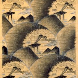 ATELIER STABLO (Paris, XXe siècle) pour la MANUFACTURE DELERUE à Roubaix  Les Plongeurs, vers 1930 Mine de plomb et crayon de couleur sur papier calque H. 85,2 ; L. 74,4 cm Don Delerue en 1992 Photo : Arnaud Loubry