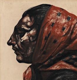 Georges Dorignac (1879-1925), Paysanne au fichu (détail), 1913, Fusain et sanguine sur papier Collection particulière - Photographie : Matthieu Néouze