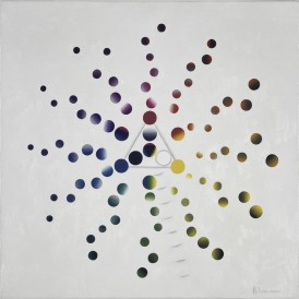 André LEMONNIER, Possibilités de mélanges à partir de 3 couleurs primaires plus le blanc, 1972, Huile sur toile. © André Lemonnier