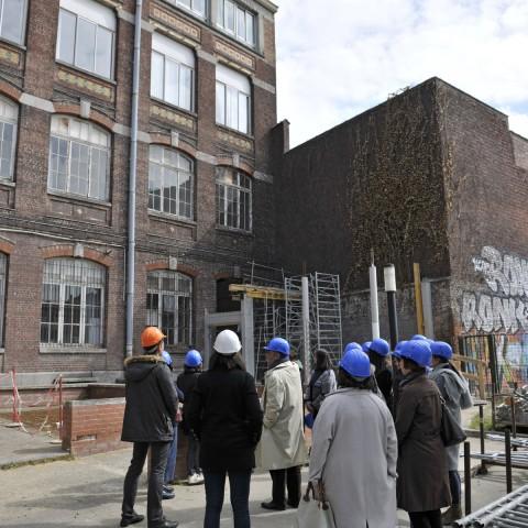 24.04.2017 Zone travaux Sévigné. Visite avec le personnel du musée. Vue sur le futur accès direct au musée_DSC5135