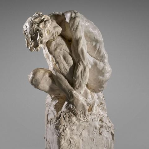 Camille CLAUDEL (1864-1943) L'Homme penché, vers 1886 Plâtre d'atelier provenant vraisemblablement d'un  moule à creux perdu  H. 43,2 ;  L. 16,5 ; Pr. 28cm